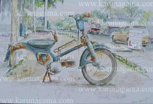Online, Art, Art Gallery, Online Art Galley, Sri Lanka, Karunagama, Watercolor, Water Colour, Sarath Karunagama, Vehicle, Moter Cycle, Pothuvil, Online, Art, Art Gallery, Online Art Galley, Sri Lanka, Karunagama, Watercolor, Water Colour, Sarath Karunagama, Honda Super Cub, Mobike Paintings, Sri lanka paintings,