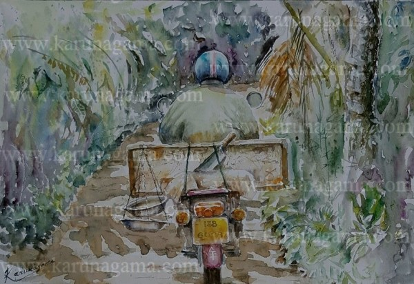 Online, Art, Art Gallery, Online Art Galley, Sri Lanka, Karunagama, Watercolor, Water Colour, Sarath Karunagama, Fish Trade, Sri Lanka Fish Trade, Sri lanka paintings,