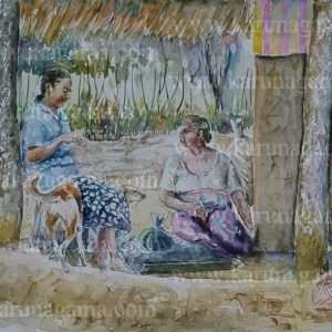 Online, Art, Art Gallery, Online Art Galley, Sri Lanka, Karunagama, Watercolor, Water Colour, People, Sri Lankan Villagers, neighbors in Sri Lanka, Villagers in Sri Lanka, Sri lanka paintings,