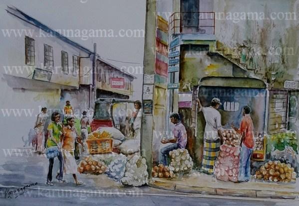 Online, Art, Art Gallery, Online Art Galley, Sri Lanka, Karunagama, Watercolor, Water Colour, Coconut seller, Pettah, Pettah Market, Pettah paintings, Market Paintings, Sri Lanka coconut, Sri lanka paintings,