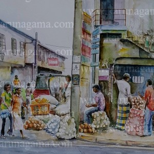 Online, Art, Art Gallery, Online Art Galley, Sri Lanka, Karunagama, Watercolor, Water Colour, Coconut seller, Pettah, Pettah Market, Pettah paintings, Market Paintings, Sri Lanka coconut, Sri lanka paintings,