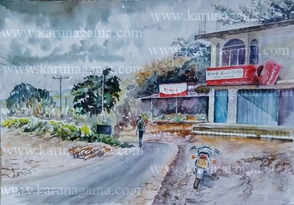 Online, Art, Art Gallery, Online Art Galley, Sri Lanka, Karunagama, Watercolor, Water Colour, Village, Sri lankan Village, Village paintings, Hunnasgiriya, Landscape, Landscape paintitngs, Sri lanka landscapes, Sri lanka paintings,