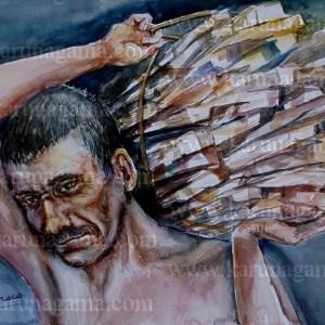 Online, Art, Art Gallery, Online Art Galley, Sri Lanka, Karunagama, Watercolor, Water Colour, People, Sri lanka People, firewood, Firewood sellers, Sri lanka paintings,