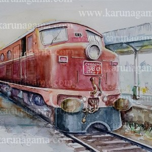 Online, Art, Art Gallery, Online Art Galley, Sri Lanka, Karunagama, Watercolor, Water Colour, Class M1, Sri lanka trains, Locomotives, Locomotive paintings, Diesel locomotives, Diesel locomoitve paintins, Trains paintins, Sri lanka paintings,