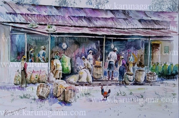 Online, Art, Art Gallery, Online Art Galley, Sri Lanka, Karunagama, Watercolor, Water Colour, Tea indsutry, Sri lanka tea, Sri lanka tea estates, Sri lanka tea estate workers, Sri lanka laborers, Tamil laborers, Tamil people in Sri lank, Muster sheds, Sri lanka paintings,