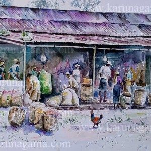 Online, Art, Art Gallery, Online Art Galley, Sri Lanka, Karunagama, Watercolor, Water Colour, Tea indsutry, Sri lanka tea, Sri lanka tea estates, Sri lanka tea estate workers, Sri lanka laborers, Tamil laborers, Tamil people in Sri lank, Muster sheds, Sri lanka paintings,