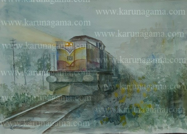 Online, Art, Art Gallery, Online Art Galley, Sri Lanka, Karunagama, Watercolor, Water Colour, Trains, Trains in Sri Lanka, Sri lankan trains, Haputale, Upcountry of Srilanka, Mist in Sri lanka, Railways, Sri lanka Railways, Sri lanka paintings,