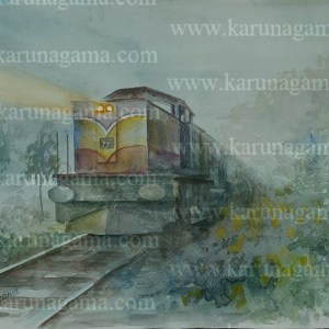 Online, Art, Art Gallery, Online Art Galley, Sri Lanka, Karunagama, Watercolor, Water Colour, Trains, Trains in Sri Lanka, Sri lankan trains, Haputale, Upcountry of Srilanka, Mist in Sri lanka, Railways, Sri lanka Railways, Sri lanka paintings,