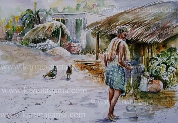 Online, Art, Art Gallery, Online Art Galley, Sri Lanka, Karunagama, Watercolor, Water Colour, Watchman, Old man, Old man paintings, Villages, Sri lankan Villages, Sri lanka paintings,