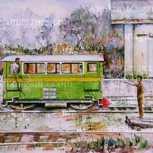 Online, Art, Art Gallery, Online Art Galley, Sri Lanka, Karunagama, Watercolor, Water Colour, Railways, Srilanka railways, Workers trolley, Vehicles, Paintings of vehicles, Paintings of trolleys, Sri lanka paintings,
