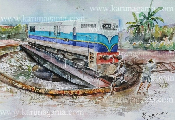 Online, Art, Art Gallery, Online Art Gallery, Sri Lanka, Karunagama, Watercolor, Water Colour,Watercolor paintngs , Kandy, Sri Lanka Railways, Sri lanka paintings,