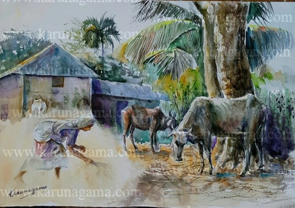 Online, Art, Art Gallery, Online Art Galley, Sri Lanka, Karunagama, Watercolor, Water Colour, cattle paintings, village paintings, Village, Animals, Dust paintings, Village paintings, Remote villages, Sri lanka Villages, , Sri lanka paintings,