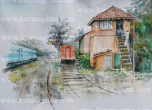 Online, Art, Art Gallery, Online Art Galley, Sri Lanka, Karunagama, Watercolor, Water Colour,Galaboda, Galboda, Galaboda Paintings, Railway stations in Sri lanka, Railway paingings, Sri lanka paintings,