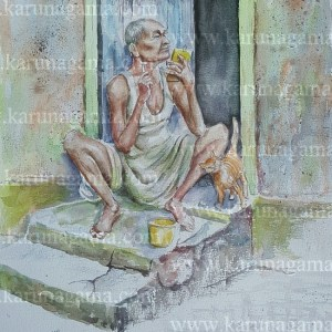 Online, Art, Art Gallery, Online Art Galley, Sri Lanka, Karunagama, Watercolor, Water Colour, Watercolor paintings, Old man, kitten, people, Sri lanka peiple, Sri lanka paintins,
