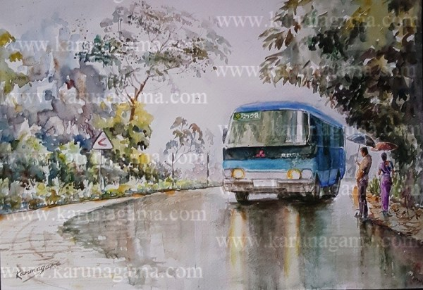 Online, Art, Art Gallery, Online Art Galley, Sri Lanka, Karunagama, Watercolor, Water Colour, Vehiciles, Rosa busses, Busses paibntings, Wet road, Road paintings.