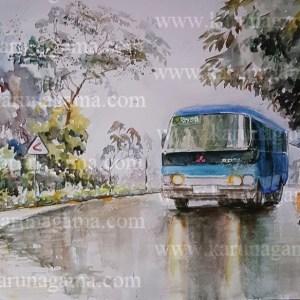 Online, Art, Art Gallery, Online Art Galley, Sri Lanka, Karunagama, Watercolor, Water Colour, Vehiciles, Rosa busses, Busses paibntings, Wet road, Road paintings.
