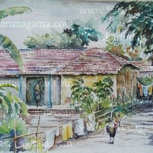 Online, Art, Art Gallery, Online Art Galley, Sri Lanka, Karunagama, Watercolor, Water Colour, Villages, Indian Village, Paintings of Villages, Village houses,