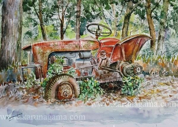 Online, Art, Art Gallery, Online Art Galley, Sri Lanka, Karunagama, Watercolor, Water Colour, Tractoer wreck, Tractors, Old tractors, Lindula, Thalawakele, Hill country, Tea plantations,