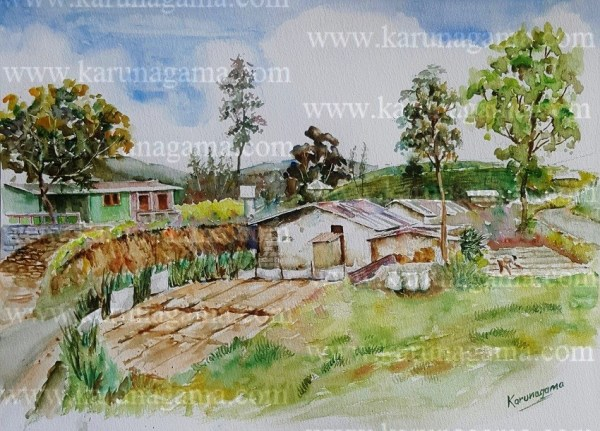 Online, Art, Art Gallery, Online Art Galley, Sri Lanka, Karunagama, Watercolor, Water Colour, Vegetable farming, Planting vegetable, Tea estates, Norwood, Hatton, Hill country, Workers in tea estates, Teaestates,