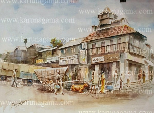 Online, Art, Art Gallery, Online Art Galley, Sri Lanka, Karunagama, Watercolor, Water Colour, Kandy, Colombo street, Landscape,