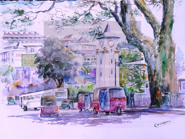 Online, Art, Art Gallery, Online Art Galley, Sri Lanka, Karunagama, Watercolor, Water Colour, Kandy, Colombo street, Landscape, Kandy City Center, Ismail clock tower, Kandy paintings, Kandy City paintings, Kandy town,