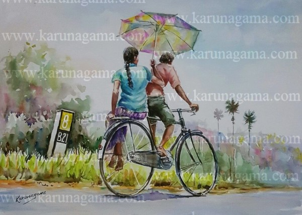 Online, Art, Art Gallery, Online Art Galley, Sri Lanka, Karunagama, Watercolor, Water Colour, People in Sri lanka, Bikers in Sri lanka, Push bikes, Transportation in Sri lanka, Transportation.