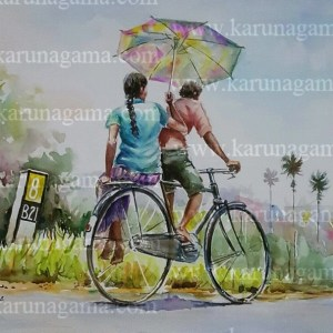 Online, Art, Art Gallery, Online Art Galley, Sri Lanka, Karunagama, Watercolor, Water Colour, People in Sri lanka, Bikers in Sri lanka, Push bikes, Transportation in Sri lanka, Transportation.