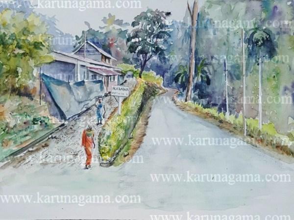 Online, Art, Art Gallery, Online Art Galley, Sri Lanka, Karunagama, Watercolor, Water Colour,Dolosbage, Nawalapitiya, Landscape, Raxawa mountain.Raxawa tea estate,r