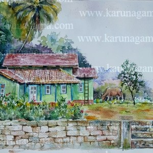 Online, Art, Art Gallery, Online Art Galley, Sri Lanka, Karunagama, Watercolor, Water Colour, Houses, Sri Lankan Houses, Villa, Sri Lankan villas, Kalthota, Kalthota paintings.