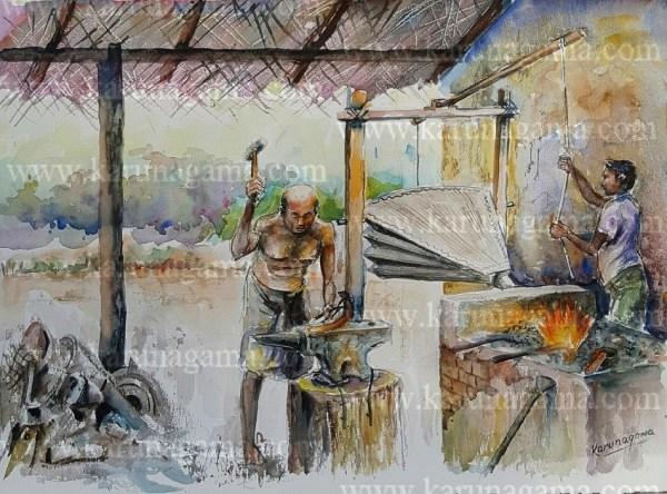 Online, Art, Art Gallery, Online Art Galley, Sri Lanka, Karunagama, Watercolor, Water Colour, Old blacksmith, Sri lanka blacksmith, Casting iron,