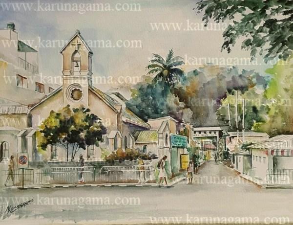 Online, Art, Art Gallery, Online Art Galley, Sri Lanka, Karunagama, Watercolor, Water Colour, Church paintings, Kandy churches, Anglican churches, yatinuwara vidiya, Kandy landscapes,