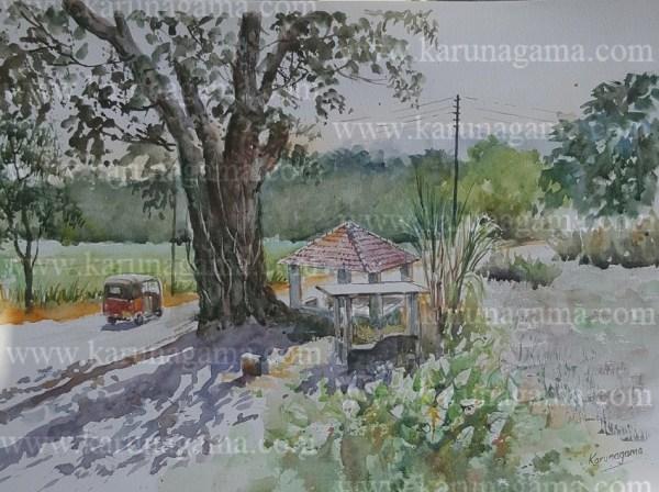 Online, Art, Art Gallery, Online Art Galley, Sri Lanka, Karunagama, Watercolor, Water Color, Shadows, Rest, Rural paintings, landscape painatings,