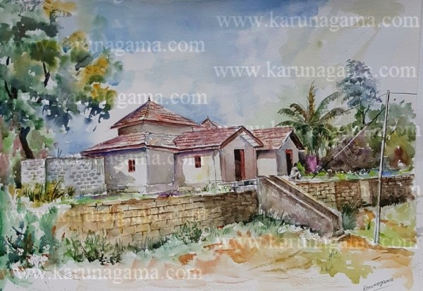 Art, Art Gallery, Buddhist temples, Karunagama, Online, Online Art Galley, Sri Lanka, Sri lanka old temple, Sri lanka temple, Srilanka temple paintings, Temple paintings, Water Colour, Watercolor