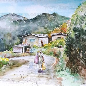 Art, Art Gallery, Karunagama, Lindula, Online, Online Art Galley, Sri Lanka, Talawakele landscapes, Tea plantations, Thalawakele, Vegetable plantations, Water Colour, Watercolor