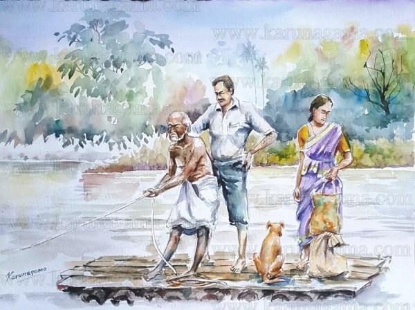 Online, Art, Art Gallery, Online Art Galley, Sri Lanka, Karunagama, Watercolor, Water Colour, Crossing river, Rafts in Sri lanka, Rafts, Old rafts, Bamboo rafts, Transportation, Travelling in Sri lanka.