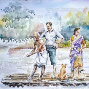 Online, Art, Art Gallery, Online Art Galley, Sri Lanka, Karunagama, Watercolor, Water Colour, Crossing river, Rafts in Sri lanka, Rafts, Old rafts, Bamboo rafts, Transportation, Travelling in Sri lanka.