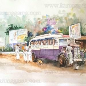 Art, Art Gallery, Karunagama, Landscapes, Landscapes in Sri lanka, Online, Online Art Gallery, Pilgrims, Pilgrimages, Devotees, Devotees in Sri lanka, Tours, Old Sri lanka, Ceylon, Vintage busses, Sri Lanka, Store, Water Colour, Watercolor