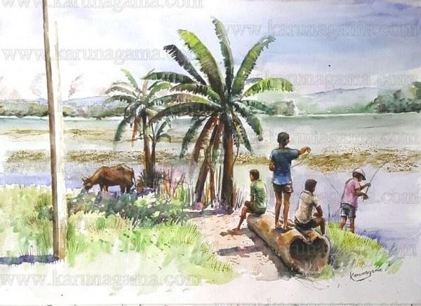 Art, Art Gallery, Ceylon, Devotees, in Sri Lanka, Karunagama, Landscapes, Landscapes in Sri lanka, Old Sri lanka, Fishing in Sri lanka, Boys in Sri lanka, Online, Online Art Gallery, Sri Lanka, Water Colour, Watercolor