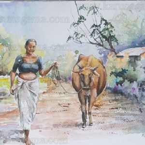 Art, Art Gallery, Ceylon, Kandy, Kandy old time, Karunagama, Landscapes, Landscapes of Sri lanka, Cows, Sri lankan people, Old Sri lanka, Online, Online Art Gallery, Railway in Sri lanka, Sri Lanka, Station road, Water Colour, Kandy watercolor paintings,