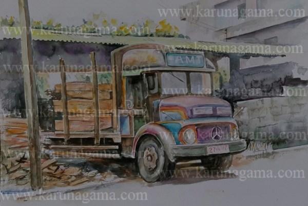 Online, Art, Art Gallery, Online Art Galley, Sri Lanka, Karunagama, Watercolor, Water Colour, Kandy, Vehicles, Timber, Vehicle paintings,
