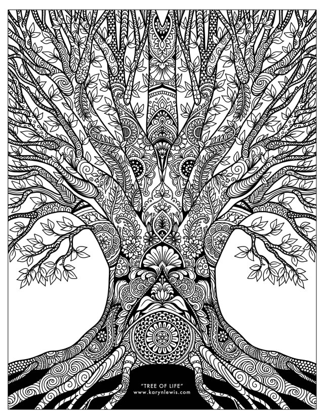 """Tree of Life"""" Doodle Art Free Adult Coloring Page  Karyn Lewis"""