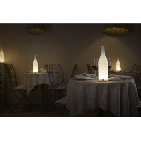 bacchus table lamp in frosted glass in the shape of a bottle battery powered and led illuminated