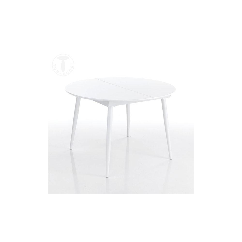 table ronde extensible astro round avec structure en metal blanc brillant et plateau en bois laque blanc brillant