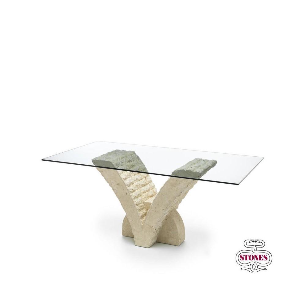table a manger papillon avec plateau en verre de 12 mm d epaisseur et base en pierre fossile
