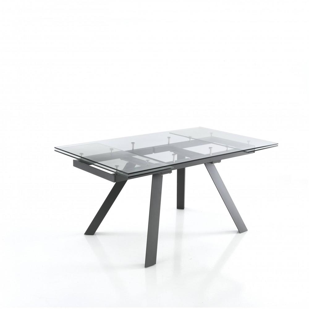 table extensible talent de tomasucci avec structure en metal et verre trempe transparent