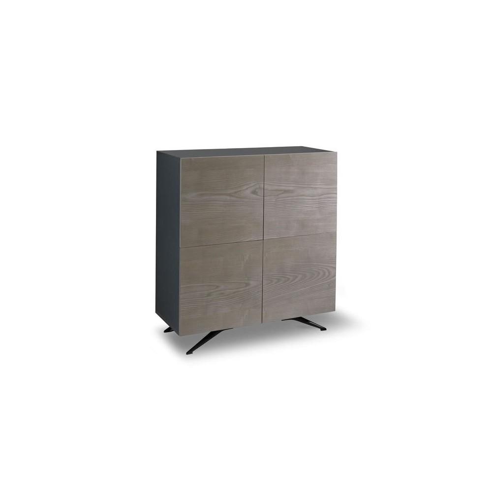 buffet ou meuble tv scudo a 4 portes by stones en melamine noir avec portes plaquees chene gris