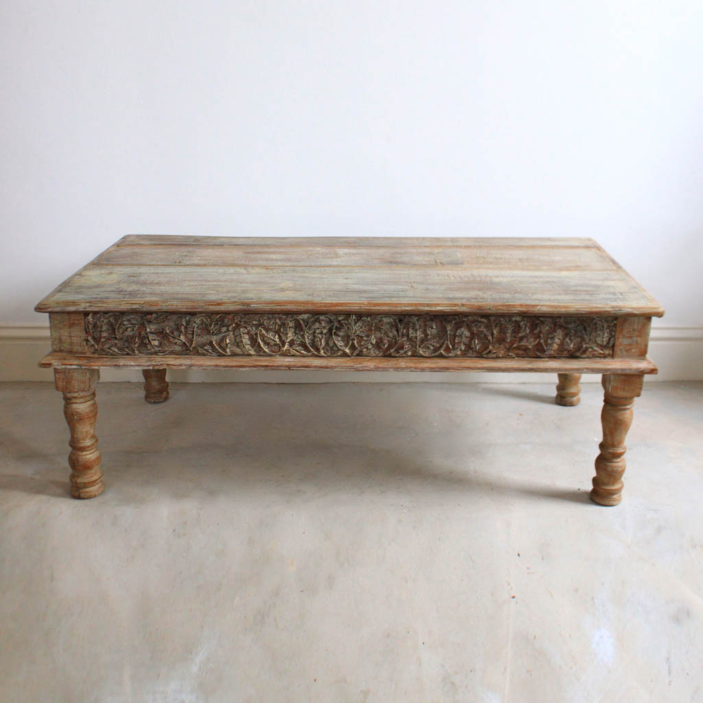 light wooden coffee table carved inlays