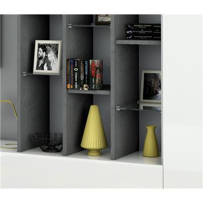 ensemble meuble tv blanc laque et effet marbre design chloe 2