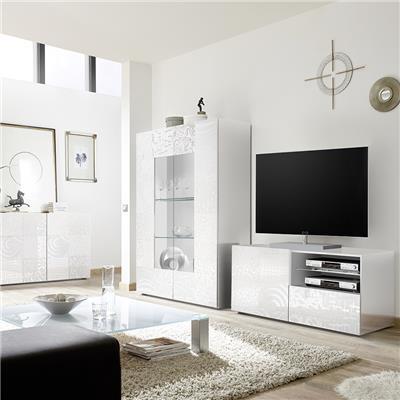 petit meuble tele blanc laque design nerina
