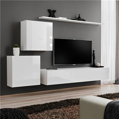 meuble tv suspendu blanc alceo 3